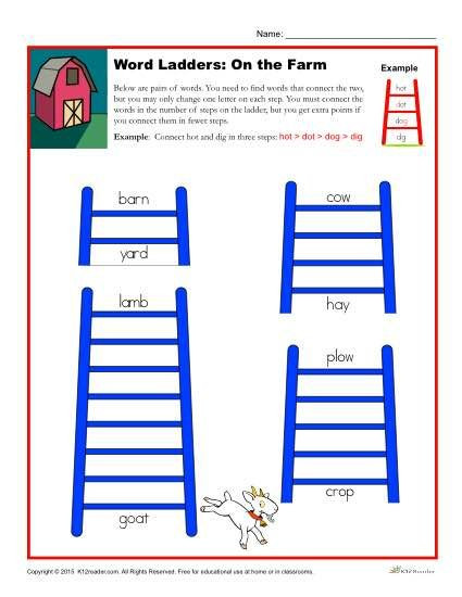Free Printable Word Ladders the Farm Word Ladders Worksheet