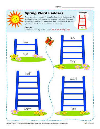 Free Printable Word Ladders Word Ladder Spring Worksheets for 2nd 3rd 4th Grade
