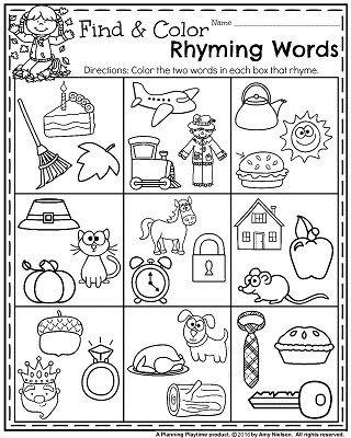 Free Rhyming Worksheets for Kindergarten Fall Kindergarten Worksheets for November