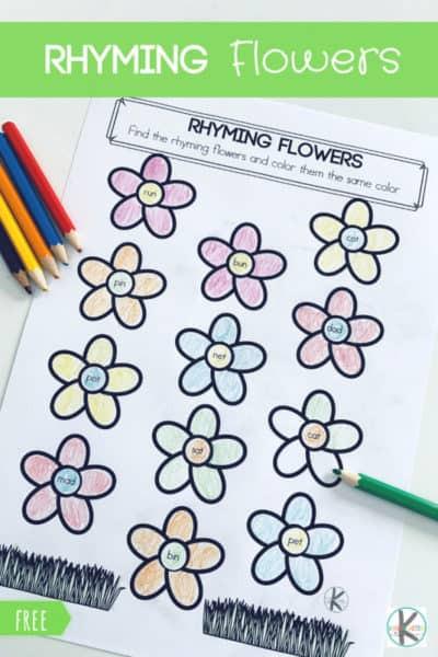 Free Rhyming Worksheets for Kindergarten Free Rhyming Flowers Worksheet