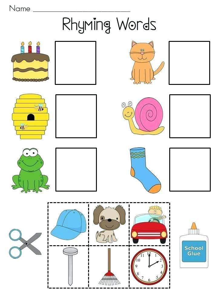 Free Rhyming Worksheets for Kindergarten Kinder Rhyming Worksheets Free Printable Cut and Paste