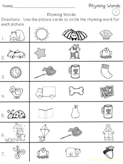 Free Rhyming Worksheets for Kindergarten Rhyming Picture Cards with Printables