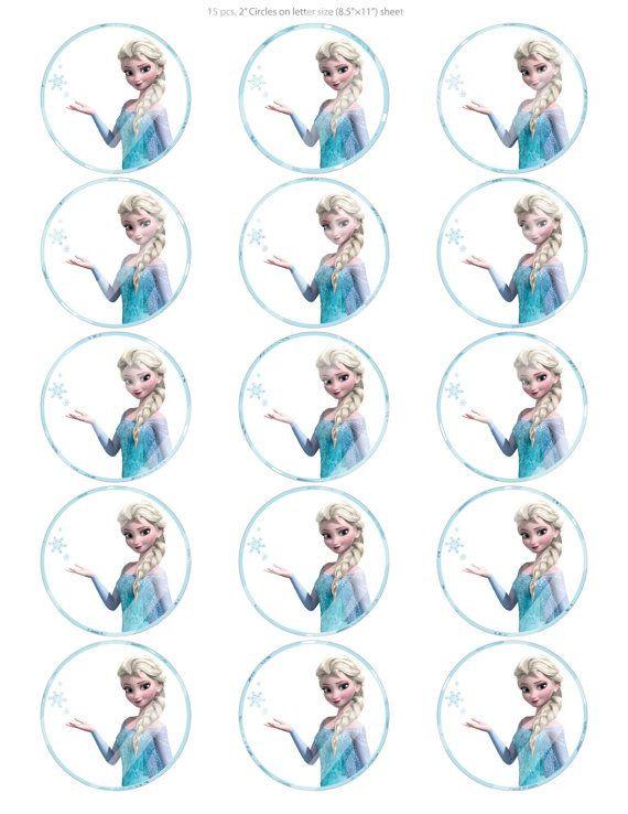 "Frozen Cake toppers Printable Diy 15 2"" Digital Printable Cupcake toppers Disney Frozen"