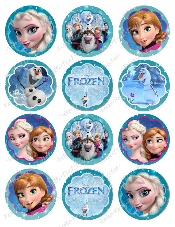 Frozen Cake toppers Printable for Childrens Frozen Cupcake toppers