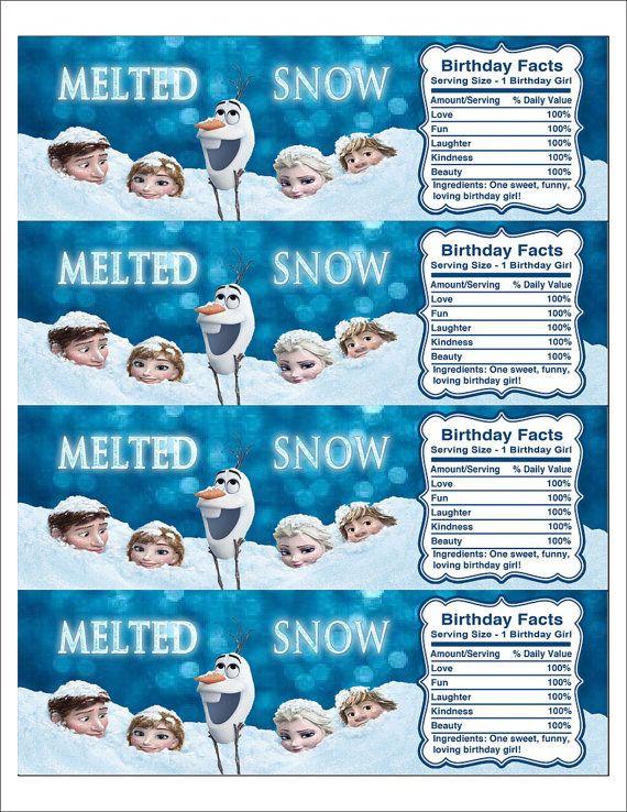Frozen Free Printable Food Labels Instant Download Disney Frozen Printable Water Bottle Label