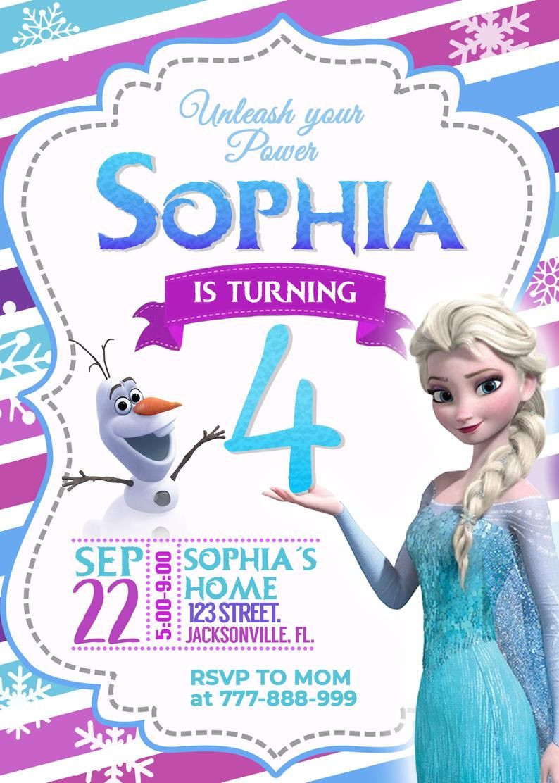 Frozen Invitations Printable Frozen 2 Birthday Invitation Girl Birthday Invitation
