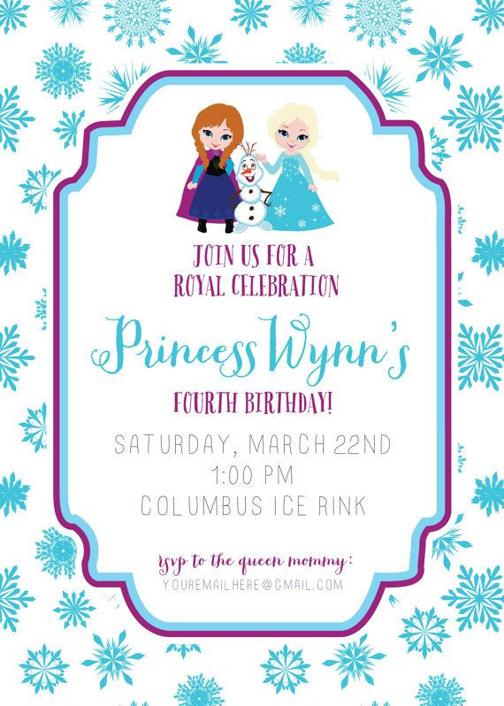 Frozen Invite Printable Frozen Invitation Frozen Birthday Invitation Disney Frozen