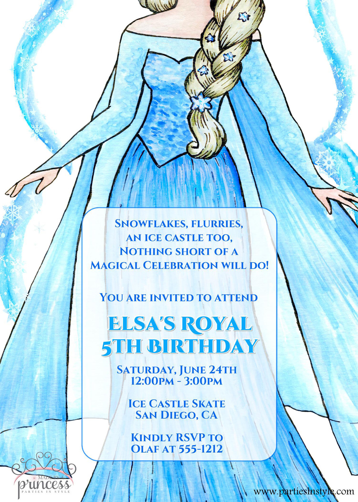 Frozen Printable Birthday Invitations Elsa Frozen Birthday Party Invitation original Poem