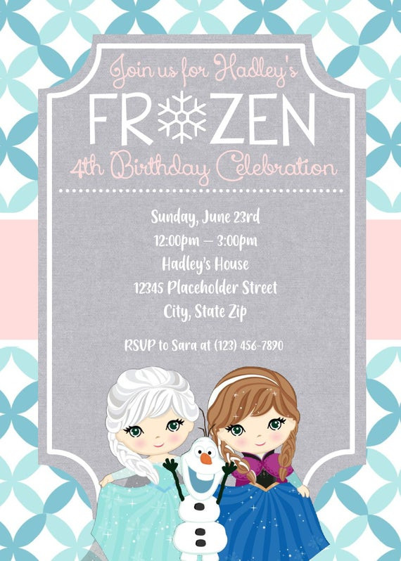 Frozen Printable Birthday Invitations Frozen Invite Frozen Invitation Frozen Birthday Invite Frozen Birthday Party Frozen Characters Frozen Birthday Party Frozen Printable
