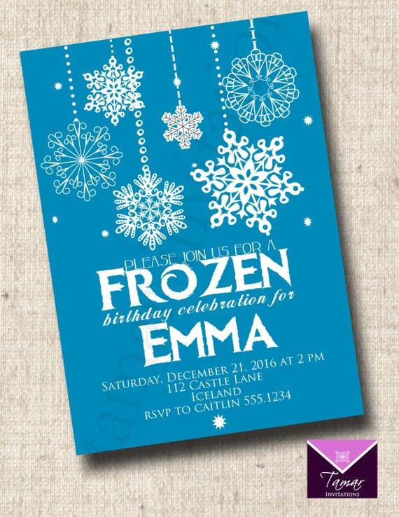 Frozen Printable Birthday Invitations Printable Frozen Birthday Invitation