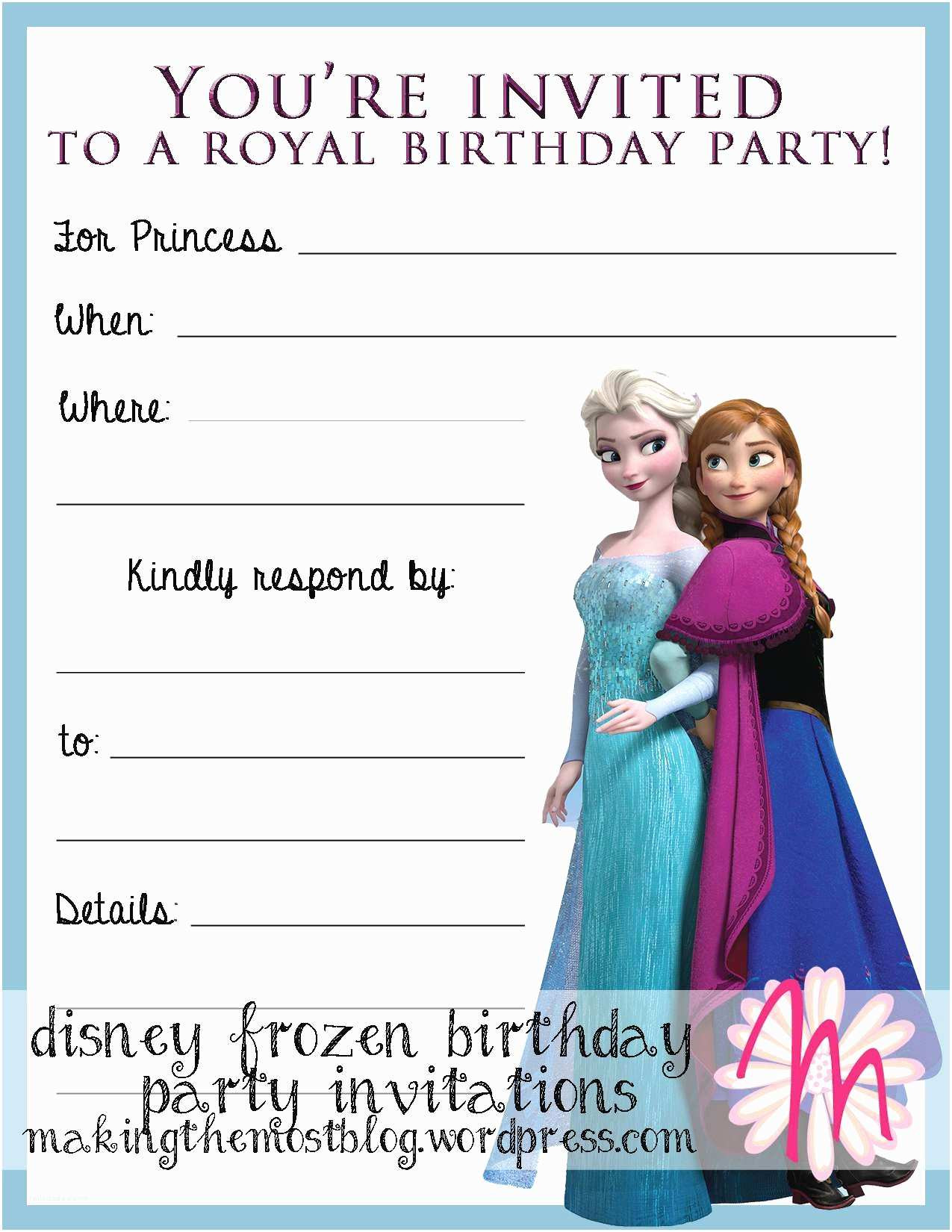 Frozen Printable Invitation Frozen Birthday Party Invitations Frozen Birthday