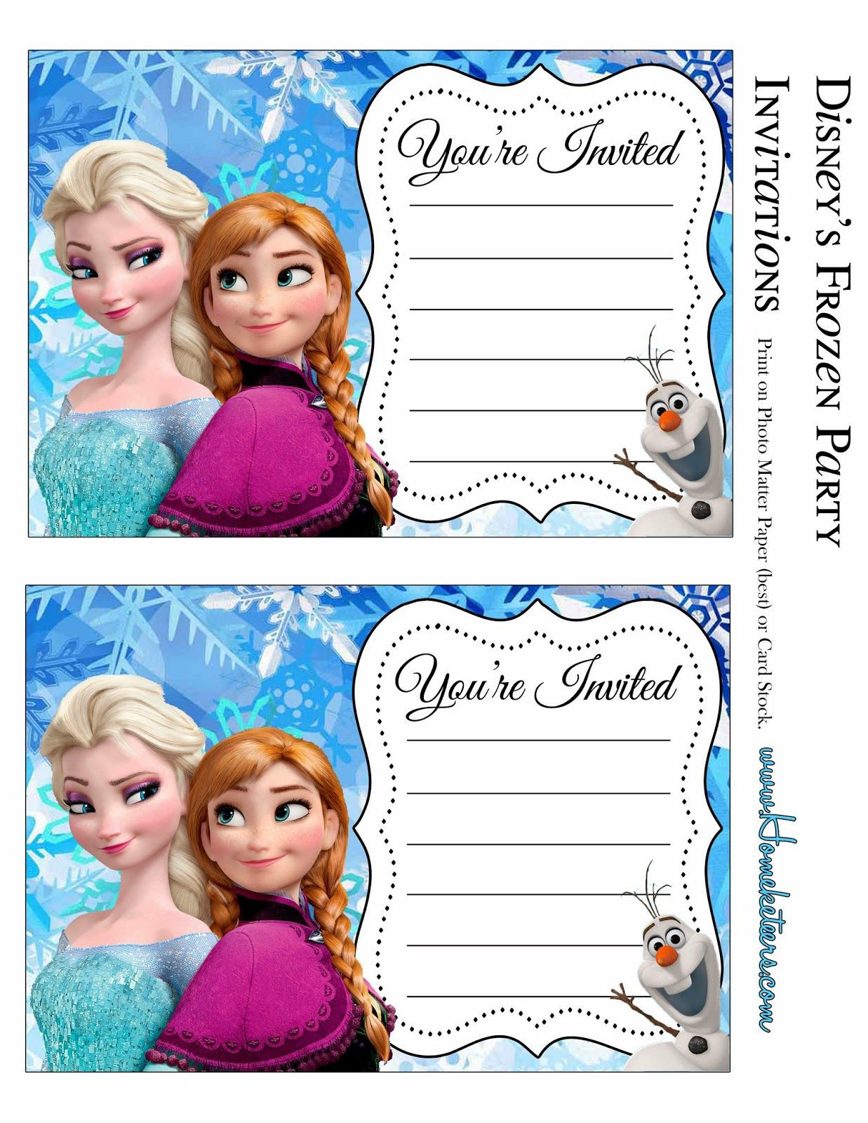 Frozen Printable Invitation Frozen Party Free Printable Invitations