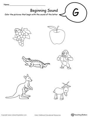 G Worksheets for Preschool Beginning sound Of the Letter G