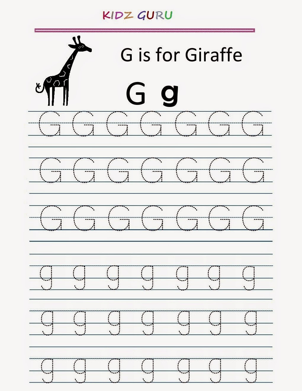 G Worksheets for Preschool Kindergarten Worksheets Printable Tracing Worksheet