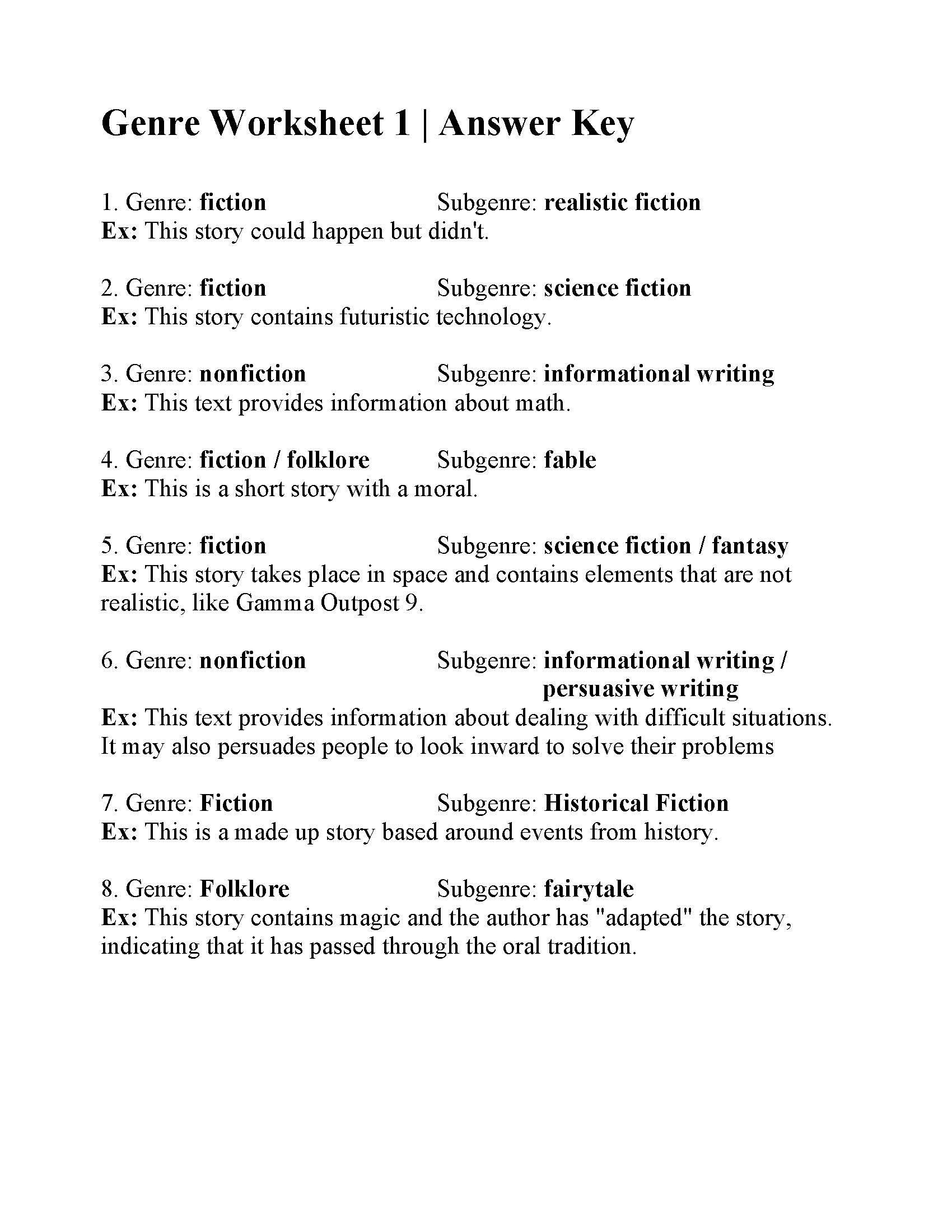 Genre Worksheets 4th Grade Genres Literature Worksheets