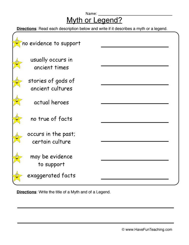 Genre Worksheets 4th Grade Myths Legends Worksheet