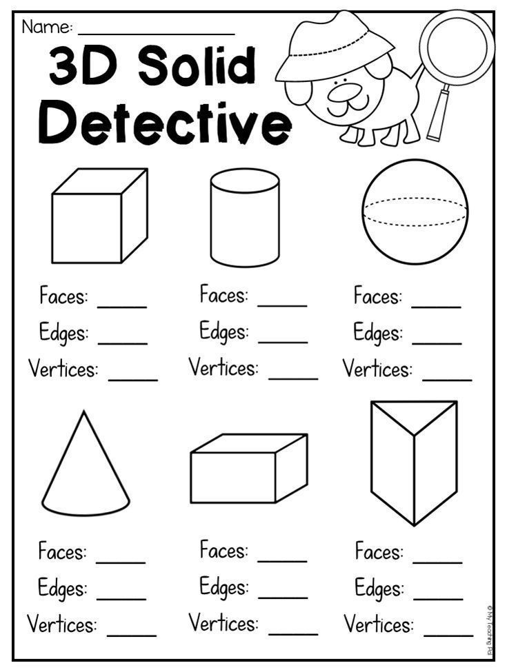 Geometric Shapes Worksheet 2nd Grade 3d solid Detective Worksheet for Students to Count Faces