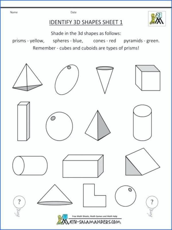 Geometric Shapes Worksheet 2nd Grade Mon Core Math Worksheets 2nd Grade 3d Shapes Identify for