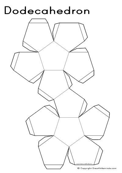 Geometry Template Printable 3d Nets Dodecahedron