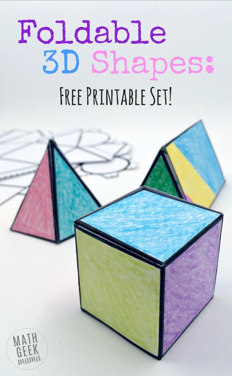 Geometry Template Printable Foldable 3d Shapes Free Printable Nets