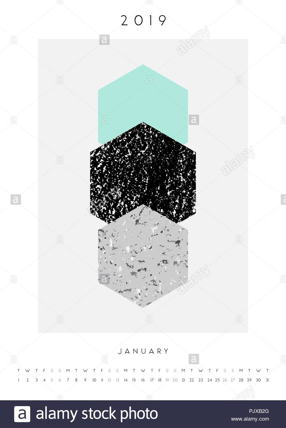 Geometry Template Printable Printable A4 Size January 2019 Calendar Template Abstract