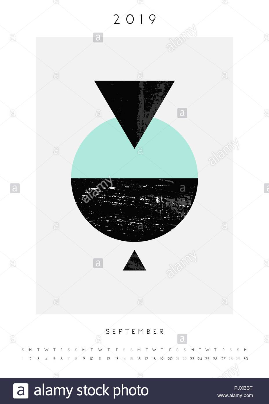 Geometry Template Printable Printable A4 Size September 2019 Calendar Template Abstract