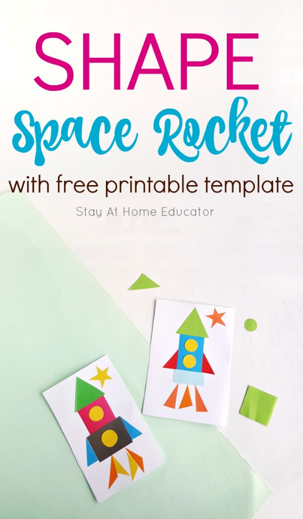 Geometry Template Printable Space Rocket Ship Craft that Teaches Shapes and Geometry