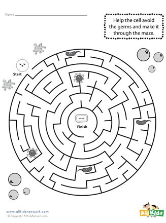 Germ Worksheets for First Grade Printable Germ Maze