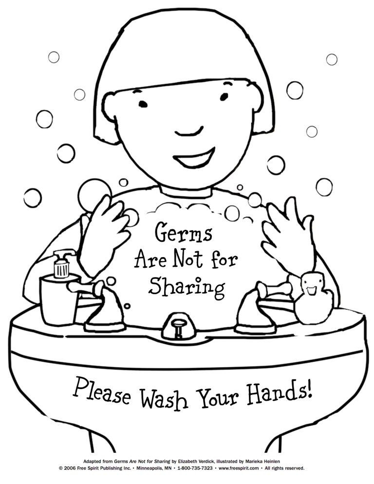 Germs Worksheets for Kindergarten Wash Your Hands Signs Coloring Picture