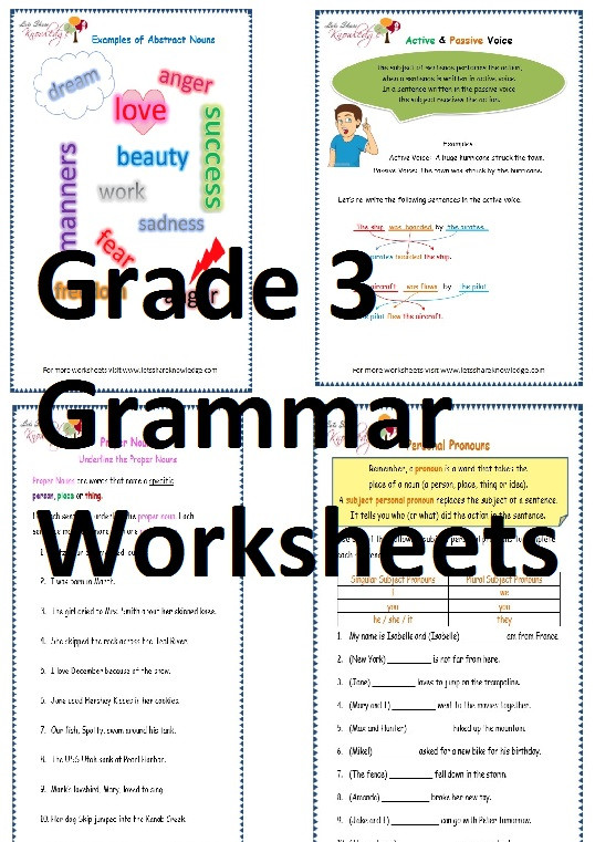 Grammar 3rd Grade Worksheets Grade 3 English Grammar Worksheets Lets Knowledge