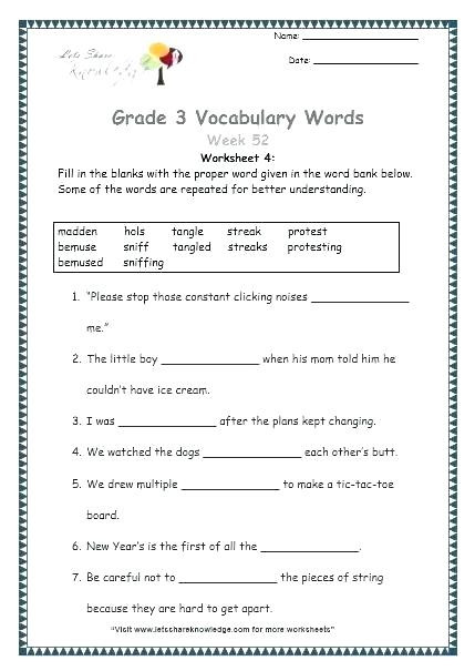Grammar 3rd Grade Worksheets Grade 3 English Worksheets – Leter