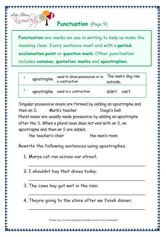 Grammar 3rd Grade Worksheets Grade 3 Grammar topic 30 Punctuation Worksheets Lets
