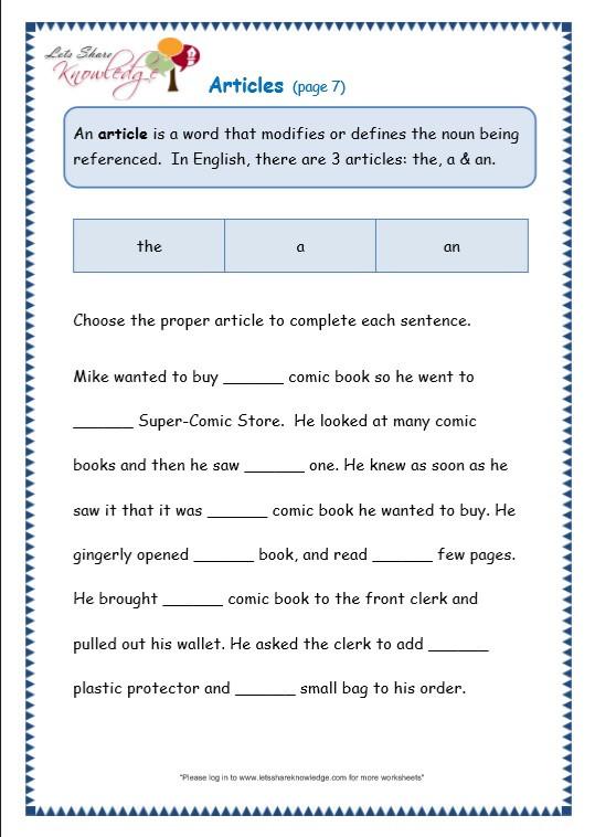 Grammar 3rd Grade Worksheets Grade 3 Grammar topic 34 Articles Worksheets Lets