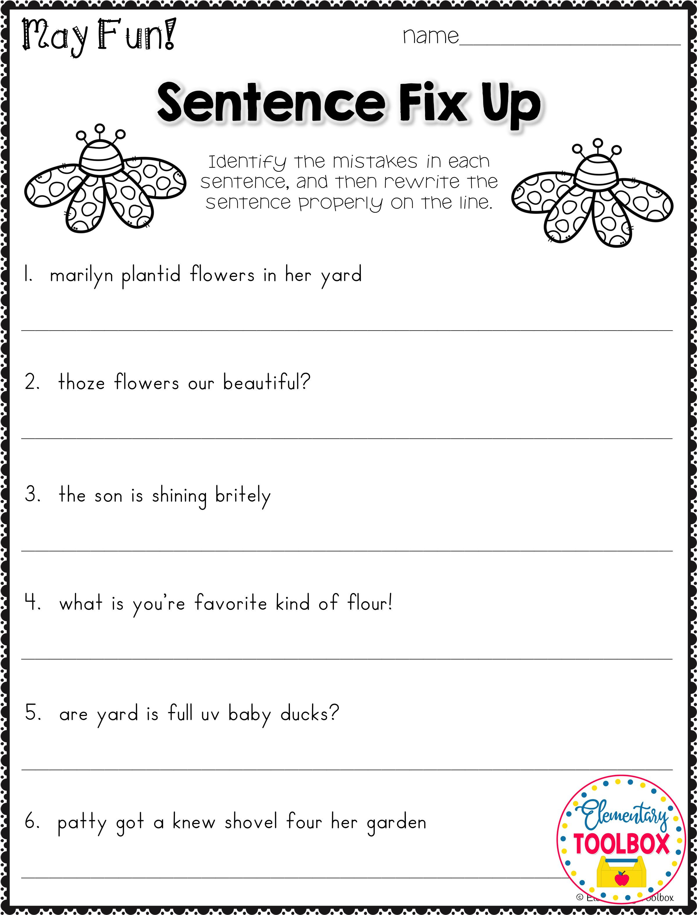 Grammar 3rd Grade Worksheets Grammar Worksheet for May 2nd & 3rd Grade