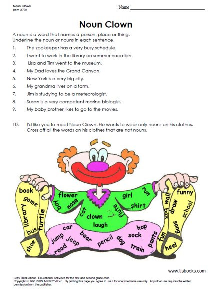 Grammar Worksheet 1st Grade First Grade Grammar Worksheets Include Parts Of Speech and