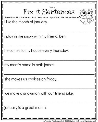 Grammar Worksheet First Grade 1st Grade Worksheets for January
