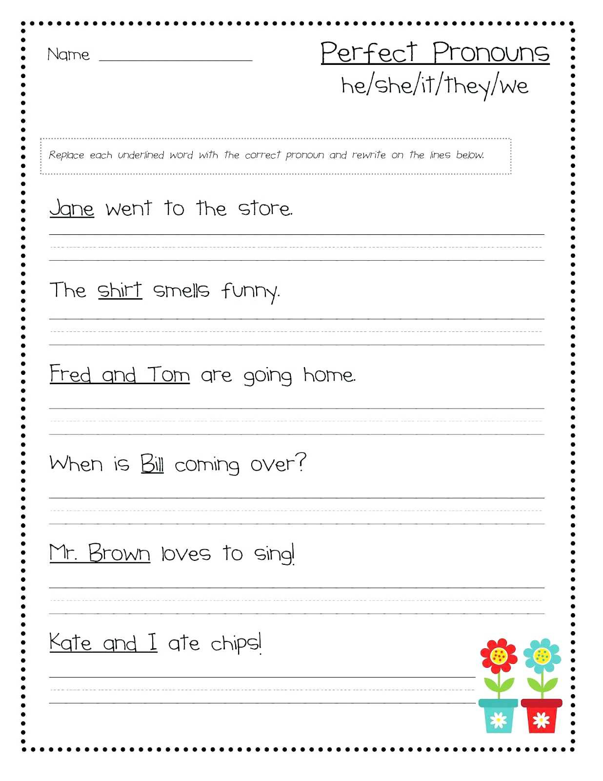 Grammar Worksheet First Grade Pronoun Worksheets 1st Grade Subject Verb Agreement