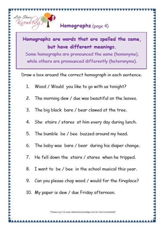 Grammar Worksheets 3rd Graders Grade 3 Grammar topic 25 Homographs Worksheets Lets