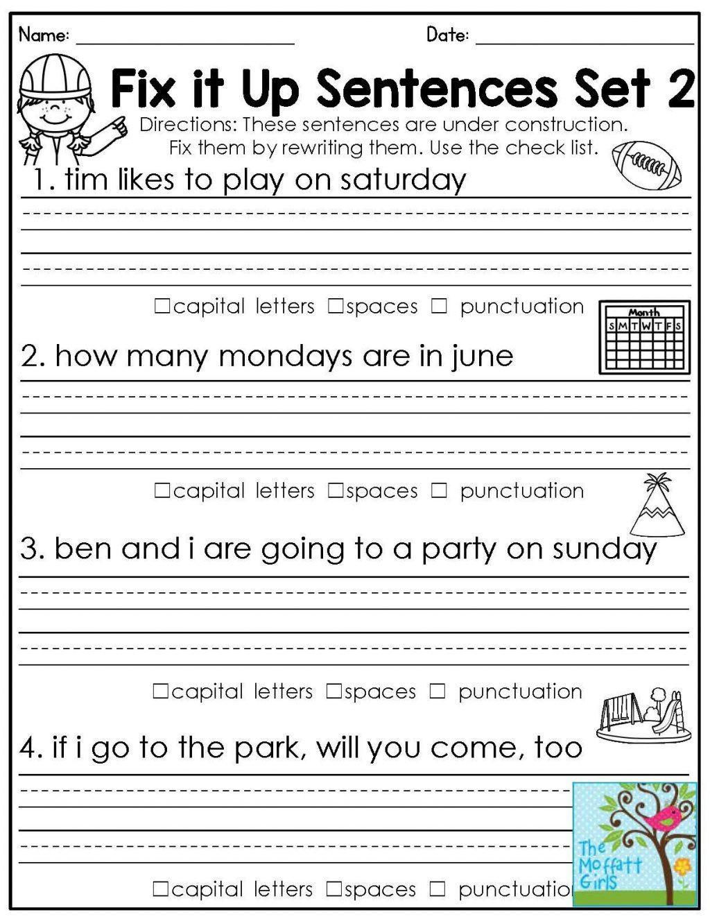 Grammar Worksheets for 2nd Grade 4 Free Grammar Worksheets Third Grade 3 Capitalization