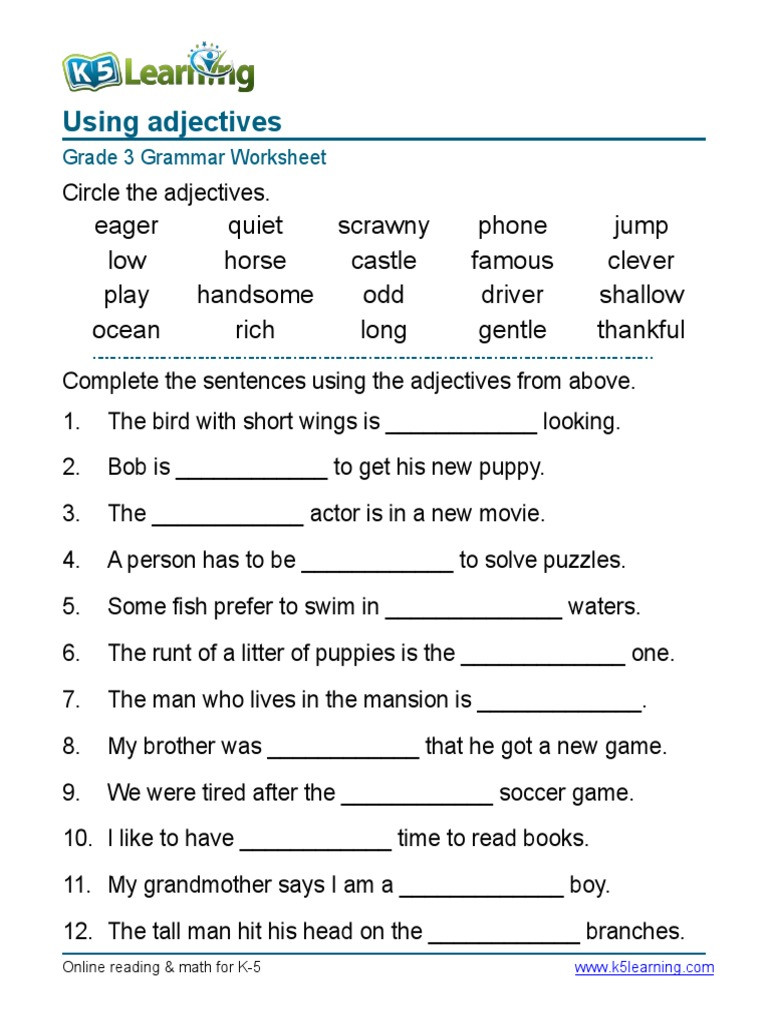Grammar Worksheets for 3rd Grade Grammar Worksheet Grade 3 Adjectives Sentences 1