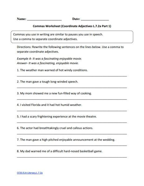 Grammar Worksheets for 8th Graders 8th Grade Grammar Worksheets – Worksheets Samples