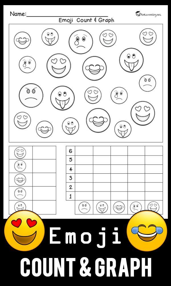 Graphing Worksheets Kindergarten Emoji Count & Graph Worksheet