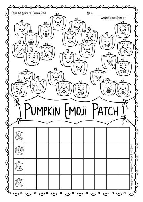 Graphing Worksheets Kindergarten Pumpkin Patch Emoji Math Kindergarten Mom