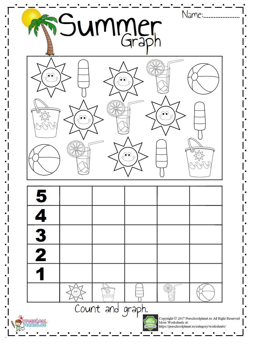 Graphing Worksheets Kindergarten Summer Graph Worksheet – Preschoolplanet