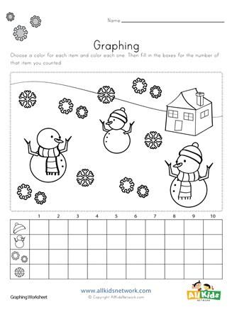 Graphing Worksheets Kindergarten Winter Graphing Worksheet