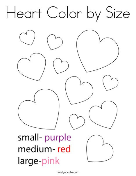 Heart Coloring Worksheet Heart Color by Size Coloring Page Twisty Noodle