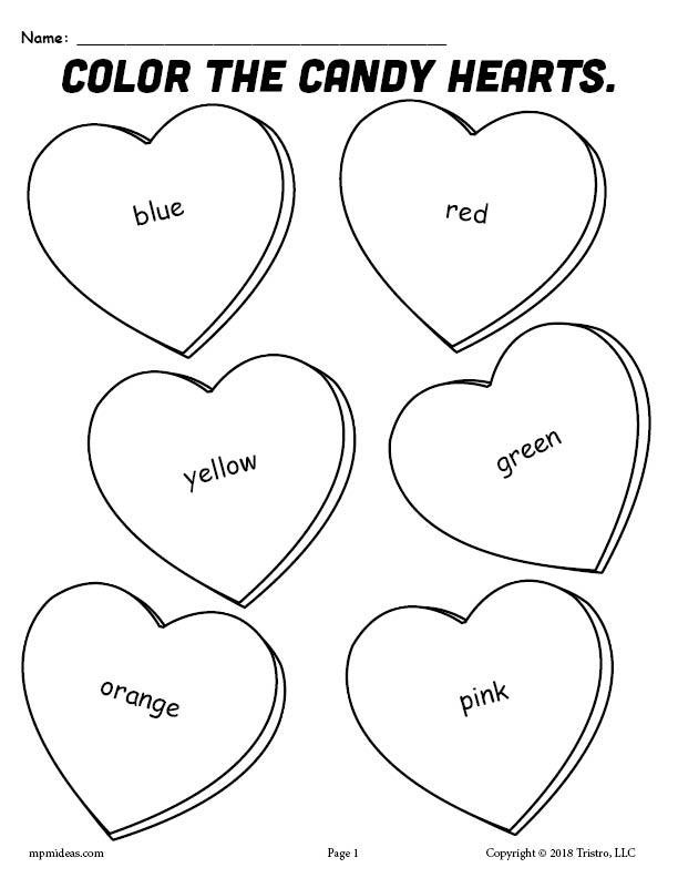 Heart Coloring Worksheet Printable Candy Hearts Valentine S Day Coloring Page