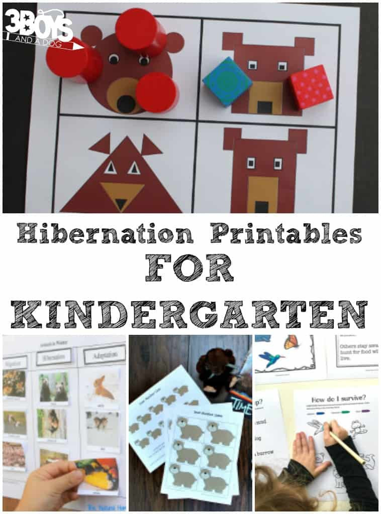 Hibernation Worksheets for Kindergarten Kindergarten Hibernation Printables – 3 Boys and A Dog – 3