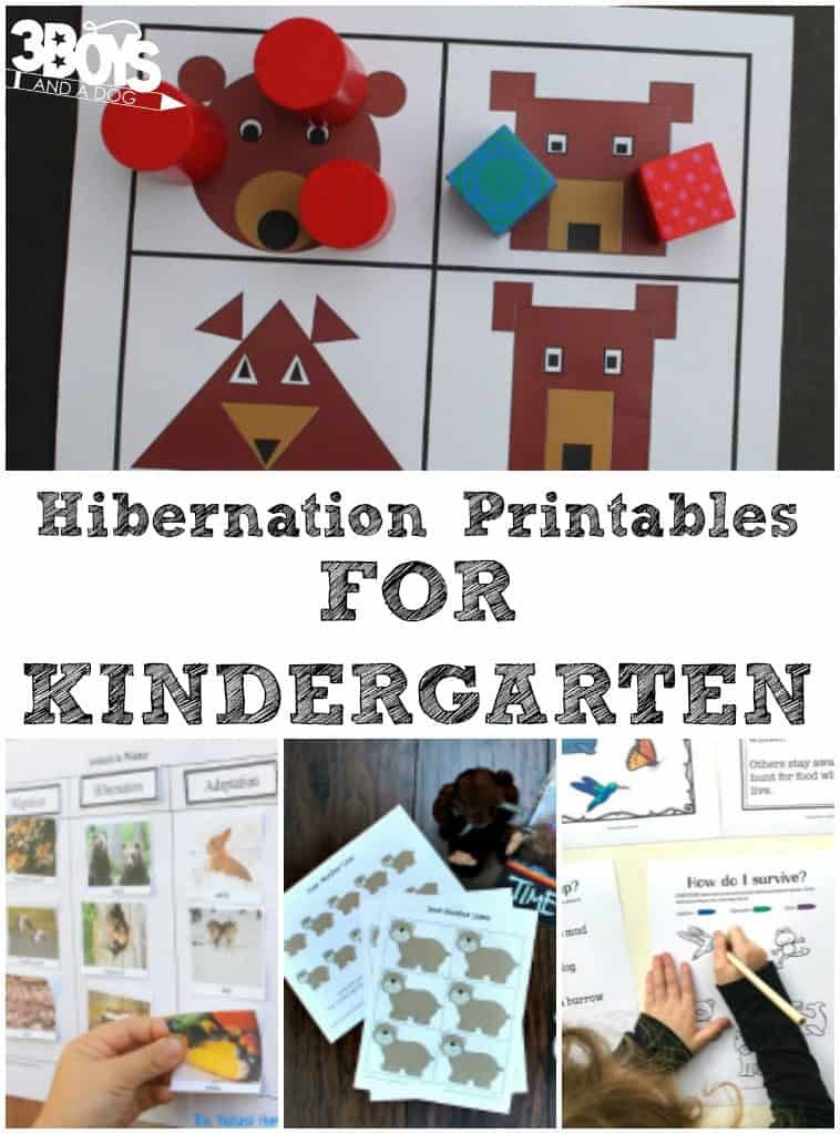 Hibernation Worksheets for Preschool Kindergarten Hibernation Printables – 3 Boys and A Dog – 3