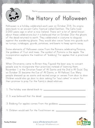 History Worksheets for 2nd Grade Halloween Reading Worksheet